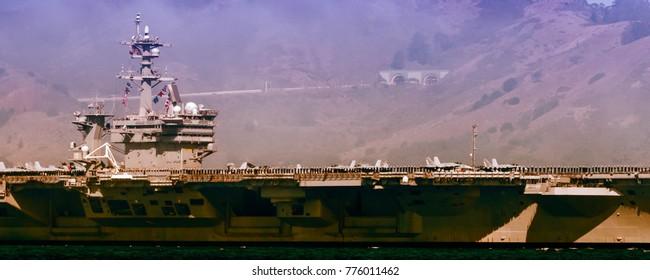 Demonstration of USS Carl Vinson (CVN 70) on Fleet Week celebration in San Francisco, California, USA