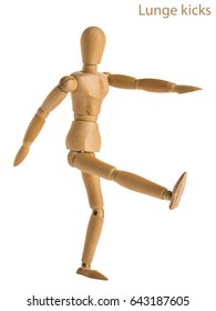 demonstration of wood manikin in lunge kicks exercise pose on white background.