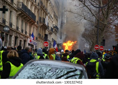 Demonstration of the yellow vests - Violent clash with the police, protest against the government in place, The people's claim - December 1st, 2018 Paris France