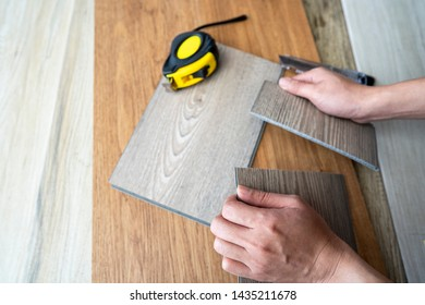 Demonstrations of how easily way to cut vinyl plank floor tiles while installation itself on the site
