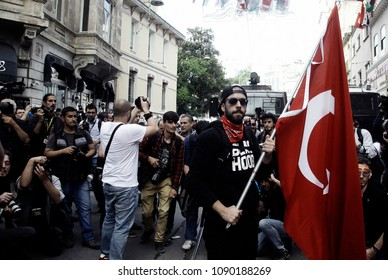 Demonstrators chant slogans during a protest to mark the 1st anniversary of the Gezi Park protests in Istanbul, Turkey on May 31, 2014
