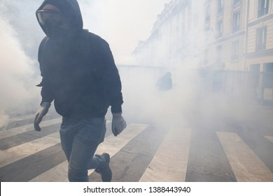 Demonstrators clashed with riot police during a demonstration of the unions members and the 'Gilets Jaunes'  movement marking Labor Day in Paris, France on May 1st, 2019