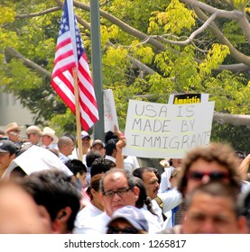 Demonstrators at Los Angeles illegal emigrant rally. May 1st 2006