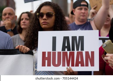 Demonstrators in Philadelphia participate in a rally against white nationalism and other forms of racism and hate organized by the interfaith advocacy organization POWER, Thursday, August 16, 2017.