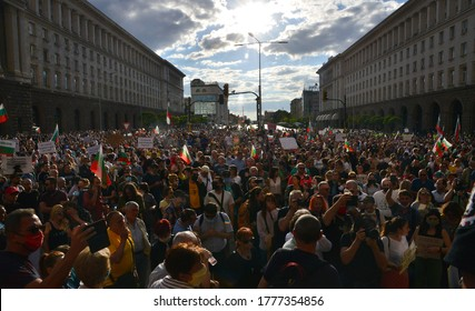 Demonstrators take part in an anti-government protest, in Sofia, Bulgaria July 15, 2020