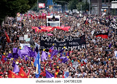"""Demonstrators take part in the """"Solidarity without borders instead of G20"""" rally in Hamburg, Germany on Jul. 8, 2017."""