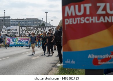 """Demonstrators of the """"Unteilbar"""" (Indivisible) demonstration in Dresden, Saxony on 24.08.2019. The demonstration is committed to an open and free society and opposes the right-wing AFD and PEGIDA."""