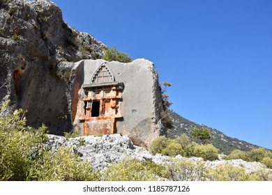 Demre, Antalya - TURKEY - JULY, 2018: Lycian rock tombs located near Karabucak is only the one of the hundreds of them across the historical Lycian way.
