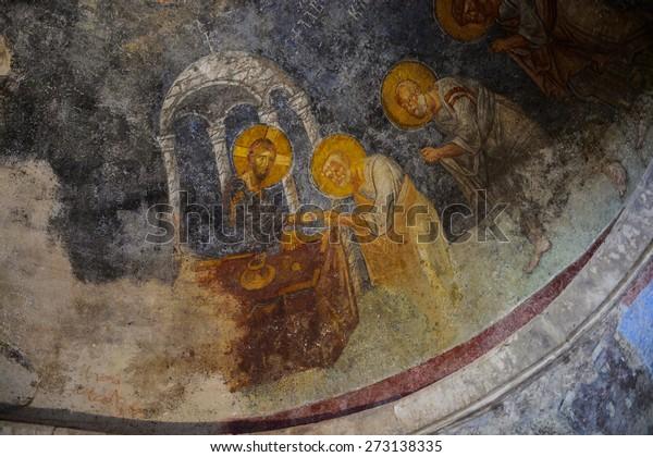 DEMRE, TURKEY - APR 21, 2015: Frescos in the Saint Nicholas (Santa Clause) church  in Demre, Turkey. It's an ancient Byzantine Church