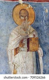 DEMRE, TURKEY - JUN 1, 2014 - Fresco of Saint Nicholas in his basilica church, Demre, Turkey