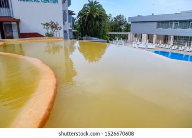 Demre, Turkey - May 21, 2019: Pam Thermal Hotel, Hot spring mineral medicinal water.