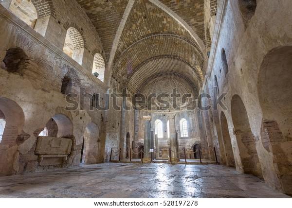 DEMRE, TURKEY - NOVEMBER 12, 2016: Interior of the St. Nicholas Church (Santa claus) in Antalya (Demre) Turkey.