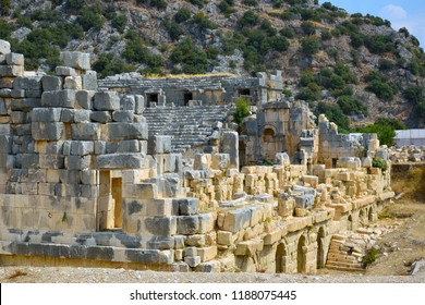 Demre, Turkey. The ruins of the ancient city of Mira are the capitals of the Lycian kingdom. The ruins of the Greco-Roman Amphitheater.