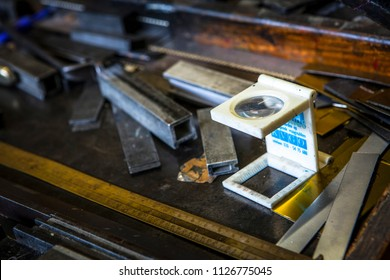 DEN BOSCH, THE NETHERLANDS - AUGUST 19, 2016:Loup and other printers tools