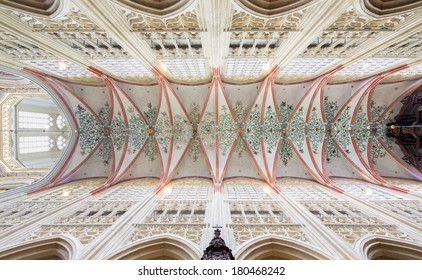 DEN BOSCH, NETHERLANDS - FEBRUARY 25: Colorful ceiling in a symmetrical composition in the gothic medieval cathedral of Saint John, top attraction of Den Bosch's-Hertogenbosch, Netherlands, February 25, 2014.