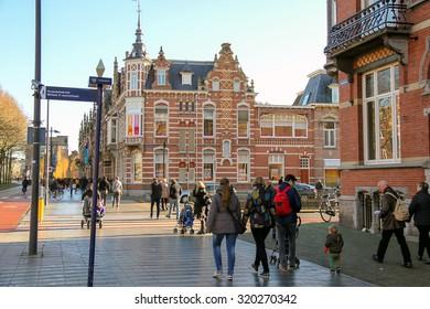 Den Bosch, Netherlands - January 17, 2015: People  in the Dutch town Den Bosch.