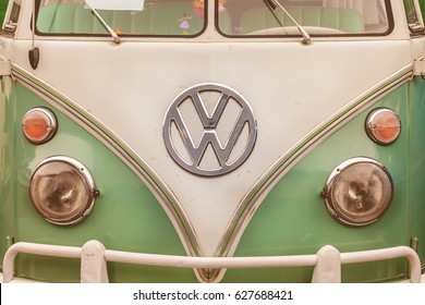 DEN BOSCH, THE NETHERLANDS - JANUARY 8, 2017: Close up of the front of a vintage Volkswagen Transporter Bus in Den Bosch, The Netherlands