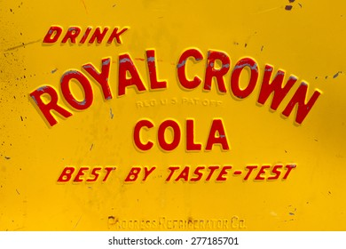 DEN BOSCH, NETHERLANDS - MAY 10, 2015: Royal Crown Cola logo on a vintage vending machine. The soft drink is developed in 1905 by Claud A. Hatcher, a pharmacist in Columbus, Georgia, United States.