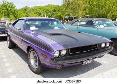DEN BOSCH, THE NETHERLANDS - MAY 10, 2015: 1970 Dodge Challenger on the parking lot at the Rock Around The Jukebox event.