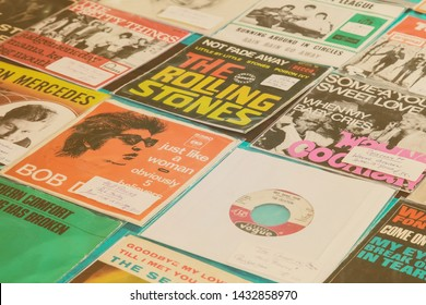 Den Bosch, The Netherlands - May 12, 2019: Various vinyl turntable records on an antique fifties to seventies flea market in Den Bosch, The Netherlands