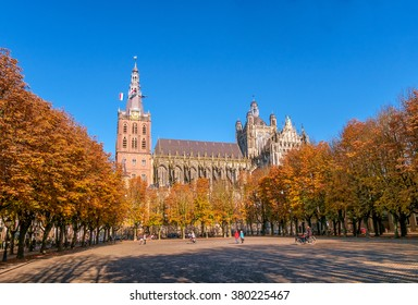 Den Bosch, the Netherlands, Parade square with trees and the gothic Saint John's cathedral in autumn.