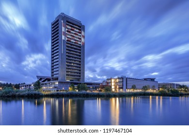 DEN BOSCH-OCT. 2, 2018. Brabant Province Headquarters. The iconic building is designed by architect Maaskant and reflects the seventies era. He designed notable buildings in Rotterdam and Amsterdam.