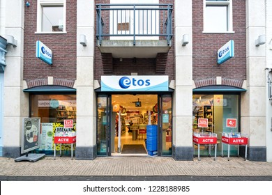 DEN BURG, THE NETHERLANDS - OCTOBER 30, 2018: Etos branch. Etos operates more than 550 drugstores in the Netherlands and is owned by Ahold Delhaize.