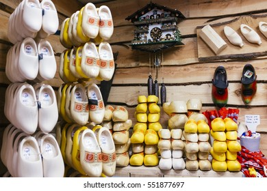Den Haag, Netherland . June 2016: traditional clogs for sale in a retail store of Dutch wooden shoes in Amsterdam, Netherlands