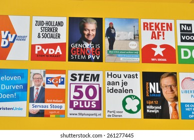 DEN HAAG, THE NETHERLANDS, 13 MARCH 2015 - Board with posters of Dutch politicians for the Dutch elections.