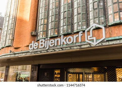 Den Haag, Netherlands 15.04.2018: The Beehive is a Dutch department store chain, De Bijenkorf sells clothing for men, women children and related accessories similar to a city mall.