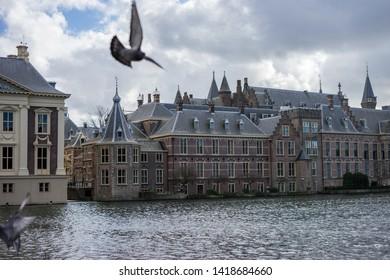 Den Haag, Netherlands - 17 March 2019: Buitenhof, Binnenhof, The international court of justice at Hague