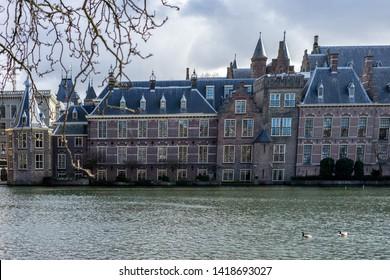 Den Haag, Netherlands, Europe, Binnenhof, BUILDINGS AT WATERFRONT