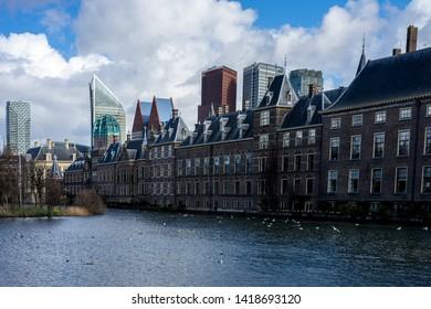 Den Haag, Netherlands, Europe, Binnenhof, PANORAMIC VIEW OF BUILDINGS AGAINST SKY