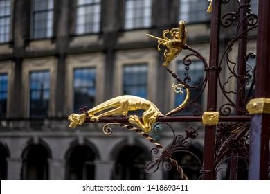 Den Haag, Netherlands, Europe, Binnenhof, CLOSE-UP OF SCULPTURE AGAINST BUILDING