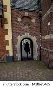 Den Haag, Netherlands, Europe, Binnenhof, REAR VIEW OF MAN WALKING AGAINST BUILDING