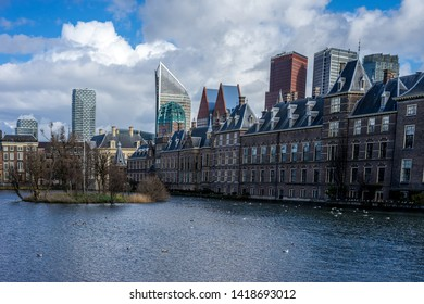 Den Haag, Netherlands, Europe, The Hague, VIEW OF BUILDINGS AGAINST CLOUDY SKY