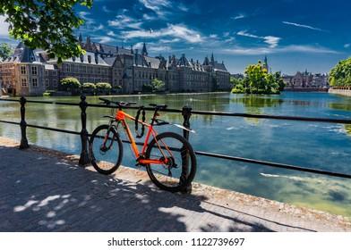 Den Haag, Netherlands - June 28,2018: Bike in front of the Binnenhof palace