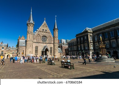 DEN HAAG, NETHERLANDS - MAY 26, 2017: View of the Inner Court or Binnenhof a complex of buildings in the city centre of The Hague on May 26, 2017. It was built in the 13th century.