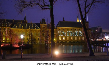 Den Haag, South Holland/The Netherlands - December 31 2018: Binnenhof building with the countdown timer projected in the building
