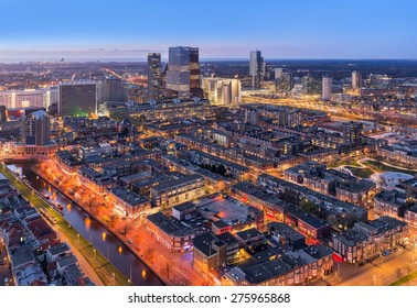 Den Haag (The Hague) Skyline From Above at Twilight, The Netherlands.