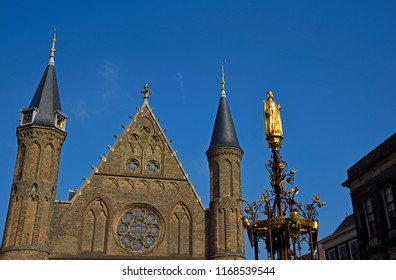 den haag, zuid holland/netherlands - september 25, 2017:the   historical gothic knights hall ( ridderzaal ) within the binnenhof complex
