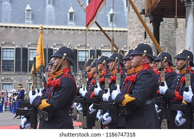 Den Haag/The Netherlands, September 18 2018 - Soldiers stand guard when King Willem-Alexander of The Netherlands arrive in the Ridderzaal to speak the State of the Union opening the Parliamentayr Year