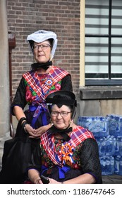 Den Haag/The Netherlands, September 18 2018 - Women in traditional dress from Staphorst are visiting Prinsjesdag in Den Haag, The Netherlands, to hear the State of the Union.