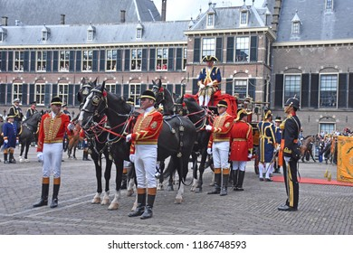 Den Haag/The Netherlands, September 18 2018 - The Glazen Koets ('Glass carriage') with King Willem-Alexander and Queen Maxima of The Netherlands arriving at the Ridderzaal for the State of the Union