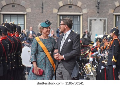 Den Haag/The Netherlands, September 18 2018 - Hiss Royal Highness Prince Constantijn and his wife Laurentien during the opening of the Parliamentary Year at the Binnenhof in The Hague.