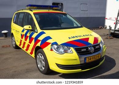 DEN HELDER, THE NETHERLANDS - JUL 7, 2012: Volkwagen Touran Ambulance EMS car at the Dutch Navy Days
