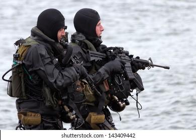 DEN HELDER, THE NETHERLANDS - JUNE 23: Dutch Special Forces during an amphibious assault demo during the Dutch Navy Days on June 23, 2013 in Den Helder, The Netherlands