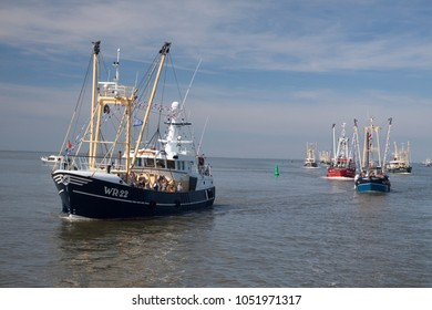 DEN OEVER, THE NETHERLANDS – AUGUSTUS 28, 2018: Fishing day event a Netherlands festival at the fishing village Urk for promoting the fishing industry, on augustus 28,2018 in Den oever , Holland
