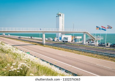 Den Oever Netherlands May 2018, the longest dike 32 kilometer long that functions as bridge as well as frontier. It connects the Dutch provinces North Holland and Frisia the dike called Afsluitdijk