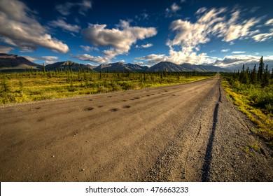 Denali Highway in Alaska on a bright summer day